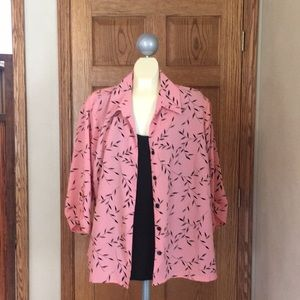 George Pink & Black Floral Two in One Blouse
